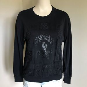 Wilfred Free Patchwork Skull Rockers Goth Long Sleeve Black T-shirt Small